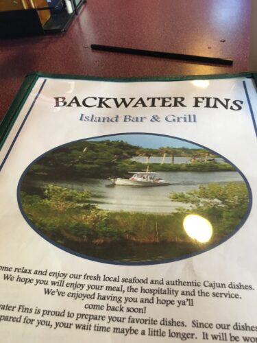 Backwater Finns Menu