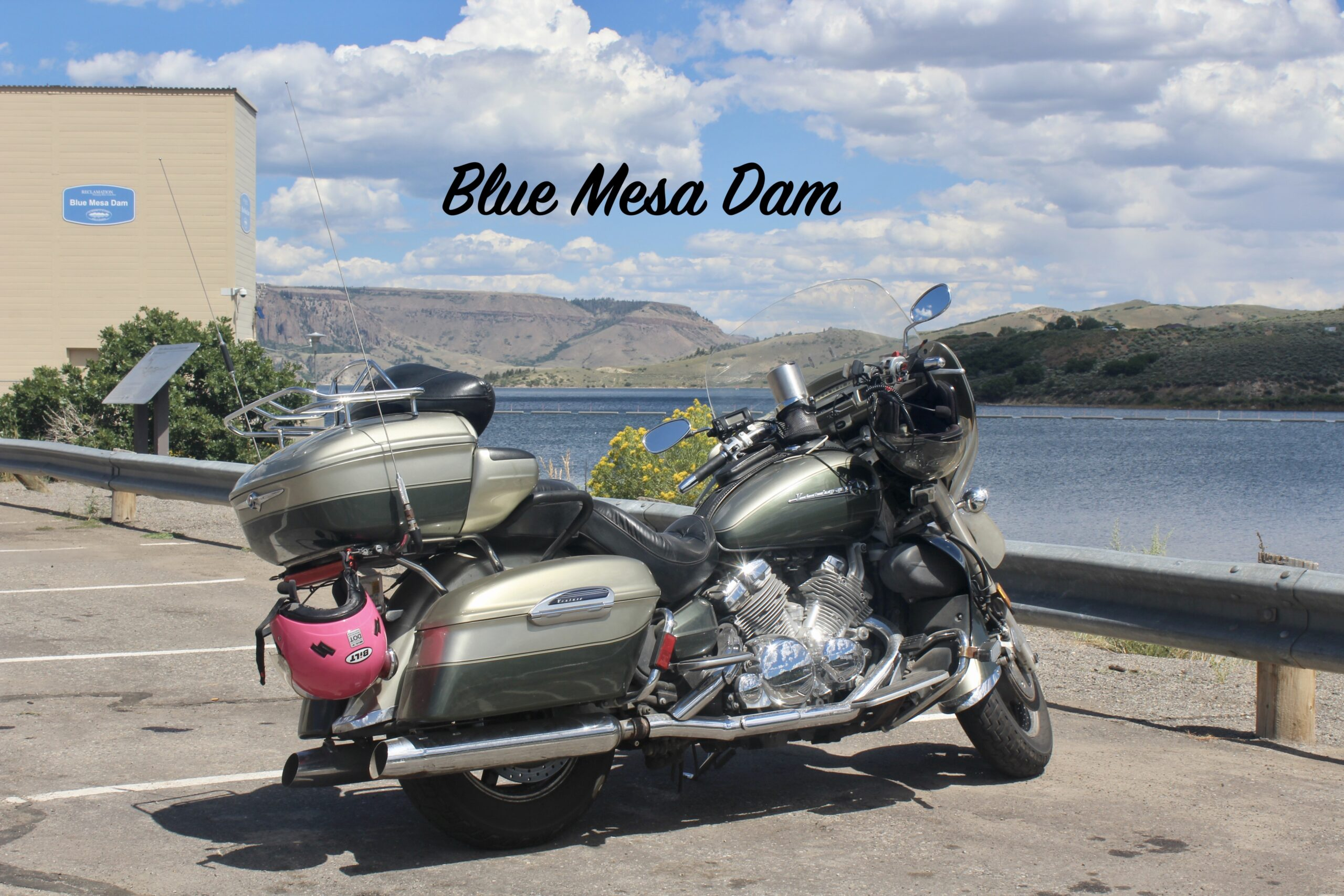 Blue Mesa Dam With Motorcycle